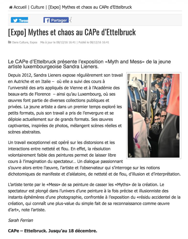 (expo) mythes et chaos au CAPE d'Ettelbruck | le quotidien | november '16 | LUX